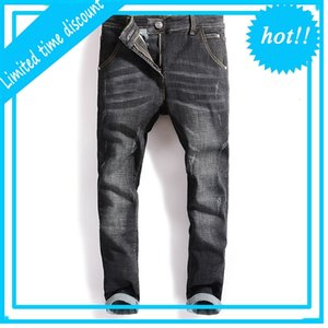 Célèbre Balplein Marque Designer Slim Pieds Broek Black Hommes Mode Jeans déchirés, 100% Cato