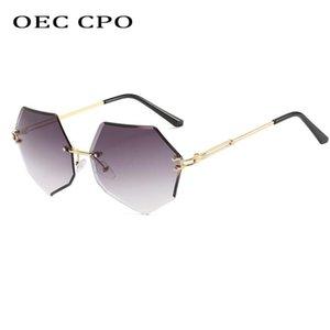 OEC For Glasses Sunglasses Women Fashion Irregular Rimless CPO Feminino Sunglasses Vintage Brand Alloy Lens Women Tlbwd