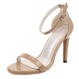 Smallhut Sommer Frauen Sandalen Sexy Gefälschte Leder Stilettos Elegant Open Tehe Weiß Beige Aprikosen Knöchelriemen High Heel Schuhe M023