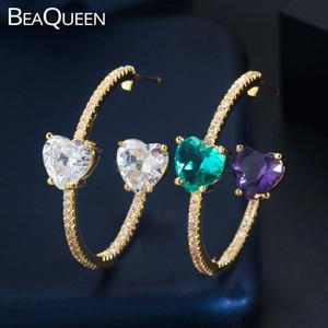 BeaQueen Brilliant Double Side Большое сердце Cut Зеленый Фиолетовый Кристалл Круглый Круг Хооп серьги Цирконий женщин ювелирные изделия E400