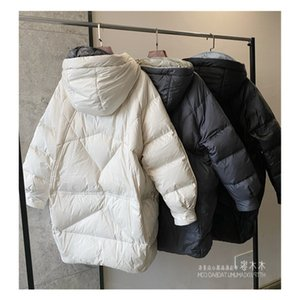 Off season Korean version loose and thin silhouette 90 white duck down hooded and thickened down jacket