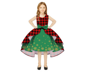 kids dress ball gown girls dress Special Occasions check skirt children clothing christmas Green Red