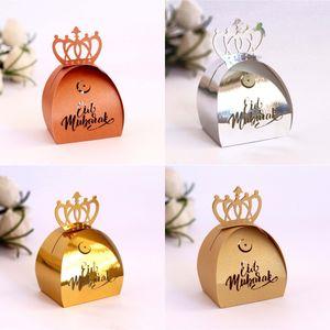 Musulmano Ramadan Festival Festival Box di carta Islamica Eid Mubarak Carta da sposa Candy Regalo Case Case Hollow Laser Candy Box Shipping GWB4827