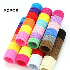 50pc lot Girls Bands Candy Fluorescence Colored Elastic Ponytail Holders Rubber Tie Gum Rope Hair Accessories Black