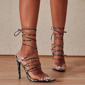 LTARTA Summer Straps Wrapped High-heeled Shoes with Fine Models Catwalk Women's Shoes Snake Pattern Plus Size Sandals ZL