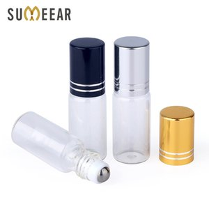 50pieces lot 5ml Glass Essential Oil Bottle Perfume For Oils Empty Cosmetic Case With roller bottles