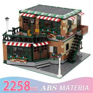Diy Bricks Architecture Ctiy Street View Series Moc Building Blocks Central Cafe Coffee Shop and Bar House Kids Toys Birthday Gi Q0123