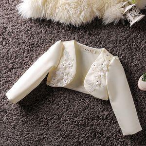 Baby Girls Bolero Formal Long Sleeves 3D Flower Wedding Party Coat Fashion Baby Girl Clothes Girls Baby Jacket 201017