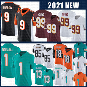 TUA 1 Tagovailoa 13 Dan Marino Joe 9 Burrow 99 Chase Young Football Jersey Team 18 A.J. Green 85 Tee Higgins Jerseys