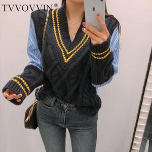 TVVOVVIN Herbst-Winter-koreanische Art-Pullover Strickpullover Frauen V-Ansatz beiläufige gestreifte Frau Neue Art und Weise Frauen Tops F271 200929