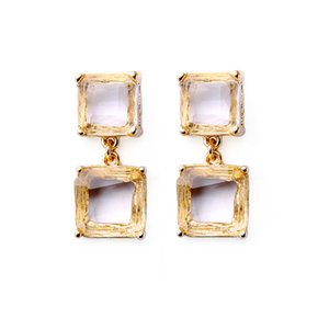European and American fashion jewelry retro personalized glass crystal geometric lady earrings stud