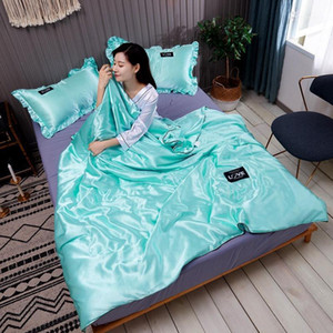 28Washed Silk Summer Air Condition Thin Soft Silk Quilt for Student Adult Office Sofa Bed Travel Airplane Home Textiles1