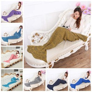 Children S Mermaid Blankets Wool Knitted Fish Tail Blankets Women Sleeping Bags Warm Soft Home Bedding Sofa Blanket 16 Colors Ldh126