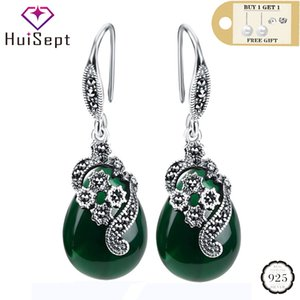 HuiSept Vintage 925 Silver Water Drop Shape Emerald Ruby Gemstones Jewellery Ornaments Women Earrings Wedding Wholesale