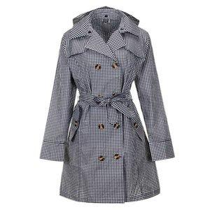 TECHOME Damen Klassische zweireihiger Trenchcoat Wasserdicht mit Kapuze Regenmantel Lange Herbst Windjacke Outwear mit Gürtel Khaki
