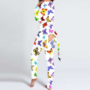 Сексуальные женщины Print Cutout Функциональная кнопка клапана взрослых новая одежда с длинным рукавом комбинезон гусиный пассуит пассуит ромпер Pajamas