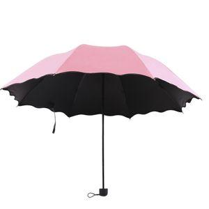 كامل التلقائي مظلة المطر النساء الرجال 3 قابلة للطي ضوء ودائم 8K مظلات قوية أطفال الأمطار مشمس مظلات 6 ألوان PPD3791