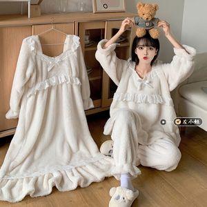 Dolce Principessa Bianco Corallo Velvet Pigiama Set Caduta / Inverno Femmina Long NightGown NightDress Home Service Girls Pants Suit Y1103 H1211