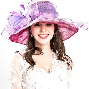 Women Hats Foldable Anti-UV Fashion Party Summer Gift Wide Brim Casual Girl Bridal Cap Ruffles Beach Spring