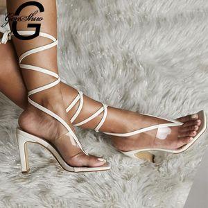 Genshuo Sommer PVC Transparent Knöchel Querband High Heels Schuhe Frauen Sandalen Peep Toe Sexy Party Weibliche Schuhe Frau Sandalias1