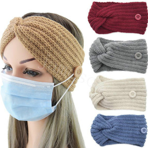 Fashionable 36 Colors Button Knitted Headband Warm Autumn and Winter Hair Accessories Cross Ear Protection Headgear DB200