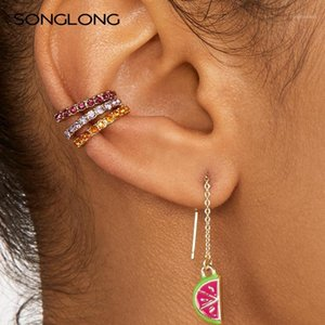 Songlong Bohemian Elegante Elegante Versatile Orecchini a forma di C Fashion Semplice Circle Strass Set Ear Stud Stud Lega Zircone Orecchino Donna1
