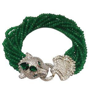 Handmade Leopard Head Micro Inlay Zircon Clasp Green Stone Multi-rows Bracelet Gift Box Packing Y19051101