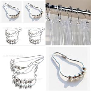 Nuevos ganchos de cortina de acero inoxidable Cortinas de bola de bola de bola de bola de baño Anillos de deslizamiento Convenientes accesorios de baño para el hogar Free Shippin 32 N2