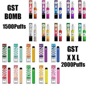Autentica GST Bomba XXL monouso Vape Kit 1500 1000 Puff vapore Pod dispositivo 1000mAh Vape bastone della penna del sistema 100% originale Xtra Max