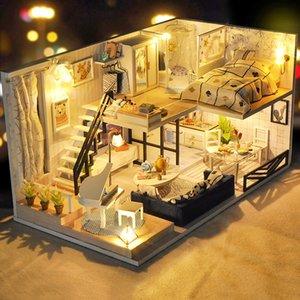 CUTEBEE bricolaje casa de muñeca de madera en miniatura casas de muñecas casa de muñecas kit de muebles Juguetes para niños de regalos de Navidad 1011 TD32
