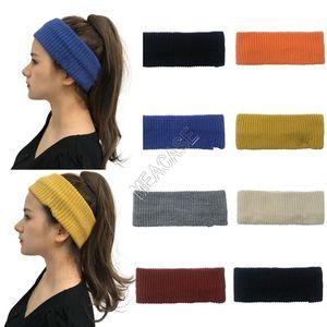 Solid Knit Headband Women Girls Turban Hair Wrap Sport Hairbands Winter Warm Crochet Empty Top Hat Beanie Earmuffs Hats Sweat Band D102708