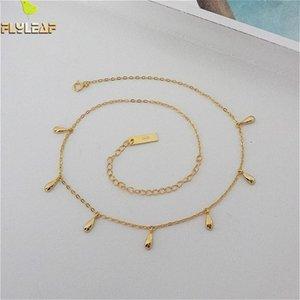 Collar de gargantilla de oro con gota de agua de flyleaf 100% 925 Collar corto de plata esterlina para mujeres Joyería fina Cadena de moda LJ201009