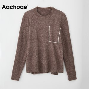 Aachoae Women O Neck Knitted Sweater Pocket Casual Pullover Sweaters Long Sleeve Fashion Loose Ladies Tops Jumper Jersey Mujer 0929
