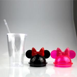 البهلوانات الأذن حر سفينة سريع البحر واضح الفأرة مع آذان سترو 450ML ماوس زجاجات القدح البلاستيك الاكريليك المياه المحمولة لطيف الطفل الكؤوس DHD2332