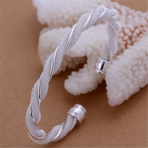 Christmas Gift Silver Color Jewelry Beautiful Female Wire Mesh Bangle Bracelet Jewelry For Women Men B020 H bbyyQc