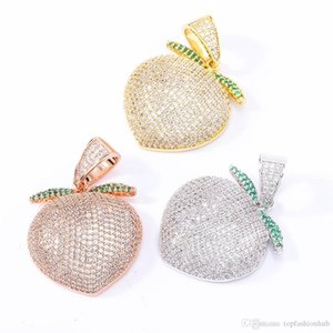 Lovely Colored Peaches Hip-hop Pendant Iced Out Pendant Necklace Gold Chain Zircon Pendant Mens Necklace