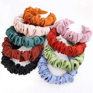 Bandes de cheveux plissées de couleur solides en tissu simples Bandeau latérale large pour filles en plastique tête cheveux Hoops accessoires pour cheveux YHM754