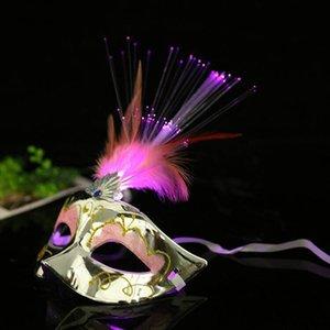 Led Light Up Mask Venetian Frauen Abendkleid-Partei Prinzessin Feder glühender Maskerade Masken Hh9-2561
