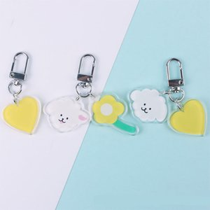 Cartoon Cute Little Sheep Keychain for Women Trinket Key Chains Ring Car Bag Pendent Charm Heart Flower Key Ring
