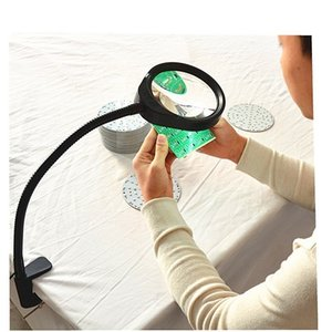 Hands-free Loupe Flexible Arm 5X 8X 10X Optional Magnifying Glass Lamp 2 in 1 Lighted Magnifier Desk Lamp Adjustable LED light T200521