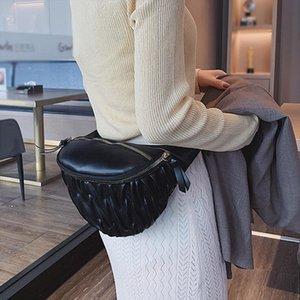 2019 Fashion Women Pu Fanny Pack Zipper Messenger Chest Bag Kidney Waist Bag Belt Bag For Women Fold Banana Purse A20