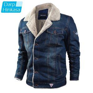 Darphinkasa invierno espesado denim chaqueta hombres streetwear casual cálido bombardero denim chaqueta de mezclilla vellón chaqueta de moda hombres 201166