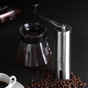 Портативный Кофемолка из нержавеющей стали Мини Ручные мельницы ручной Coffee Bean Mill Алюминий Кухня инструмент Крокус Измельчители LSK1630
