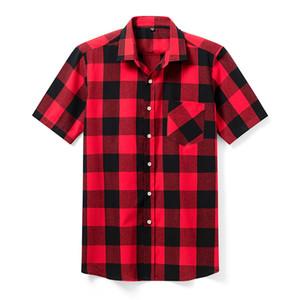 Aoliwen Marque Haute Qualité Plaid Casual Sleeve Shirts Shirts, modèle de modèle pour hommes