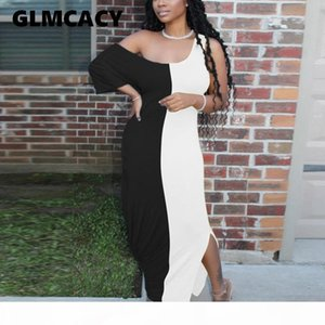 Women Casual Plus Size Color Block Dress One Shoulder Summer Maxi Dress Loose Daily Long Dress T200522