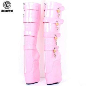 Boots Knee-High 7' Super High Wedge Ballet Heel Lockable With Padlocks Custom Colors
