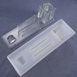 3D Pen Business Card Holder en silicone pour le maquillage Accueil Boîte de rangement de bureau Table Swing de moules de bricolage Artisanat Q1106