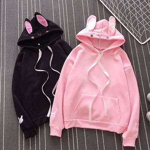 Women Fashion Cute Bunny Hoodie Long Sleeve Lovely Female Rabbit Hooded Sweatshirts Girl Casual Loose Size Lovely Cotton Hoodies 201022