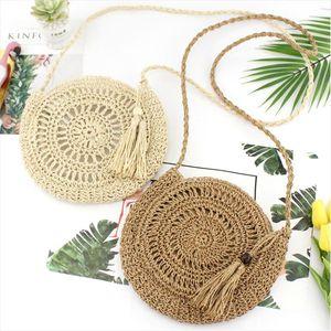 New Fashion Lady Casual Pastoral Style Tassels Straw Woven Round Bags Rattan Basket Beach Shoulder Bag Handbag