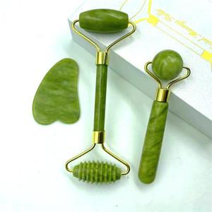 Natürliche Jade Massage Roller Guasha Brett SPA Scraper Stein Gesichts Anti-Falten-Behandlung Körpergesichts-Gesundheitspflege-Tools